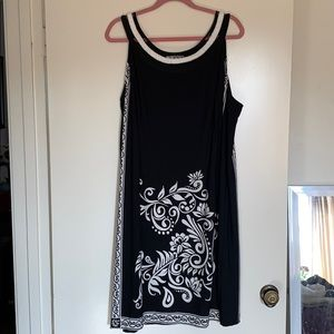 Black dress with white floral detailing